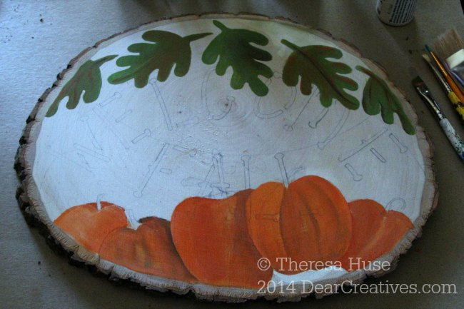 work of fall craft painting_ welcome fall _ pumpkins and leaves falling_