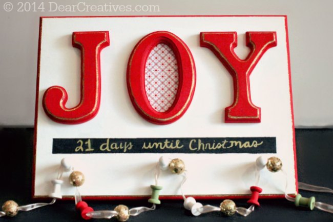 Christmas #ChalkyFinish Paint Project: Joy Holiday Christmas Countdown Sign #DIY