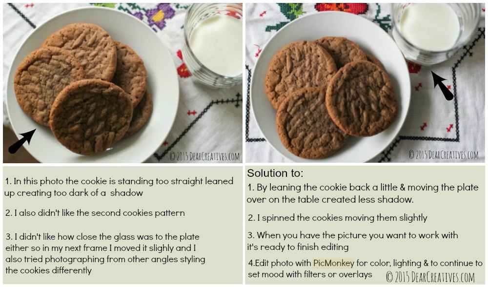 Photo editing steps_sample cookies and milk photographs_step by step how to_