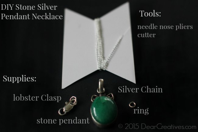 DIY- Craft Jewelry |DIY Stone Silver Pendant Necklace
