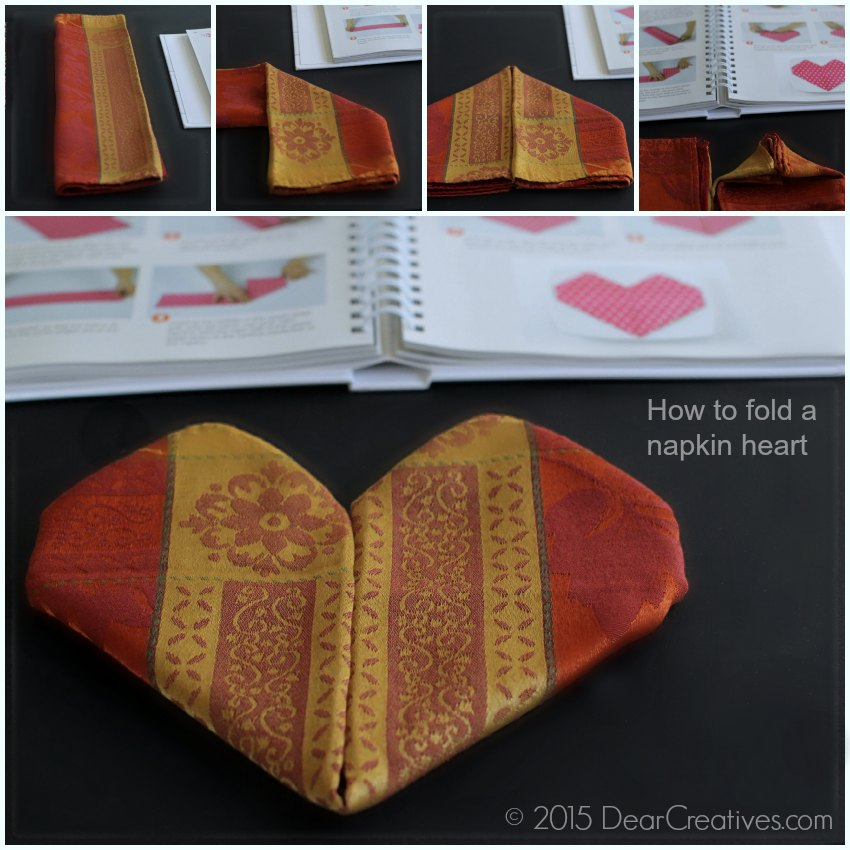 How to fold a napkin heart Top 100 step by step Napkin Folds