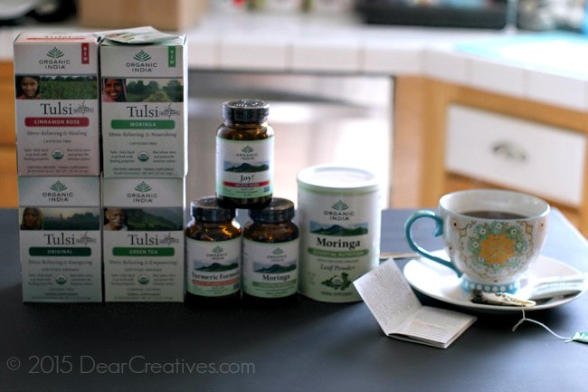 Organic India Products and a cup of tea