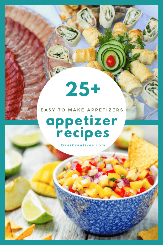 Party Appetizers Ideas - These are easy to make appetizer recipes anyone can make for game days, parties, holidays and other celebrations. DearCreatives.com