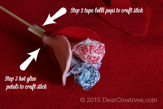 DIY Craft Project | Steps 2 and 3 for the Dum Dums Felt Flower Lollipops
