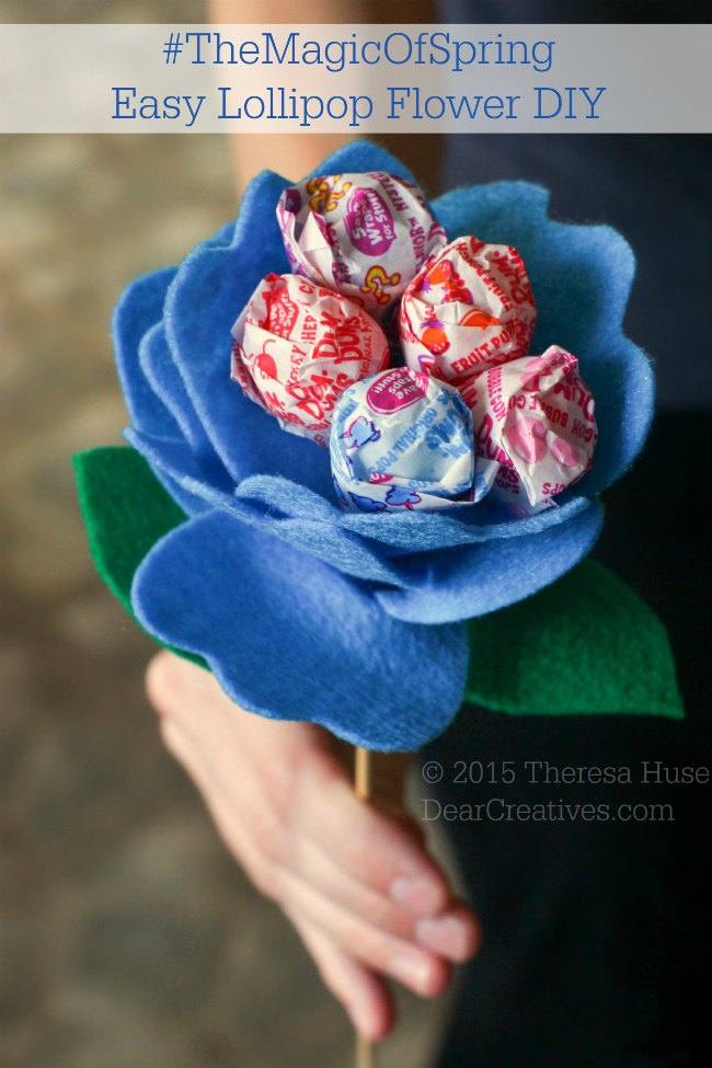 Easy Felt Flowers With Lollipops DIY