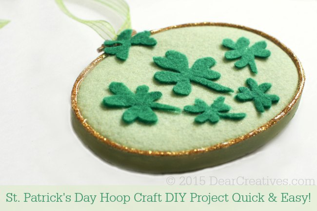 St.Patrick's Day Felt Clovers Hoop Art
