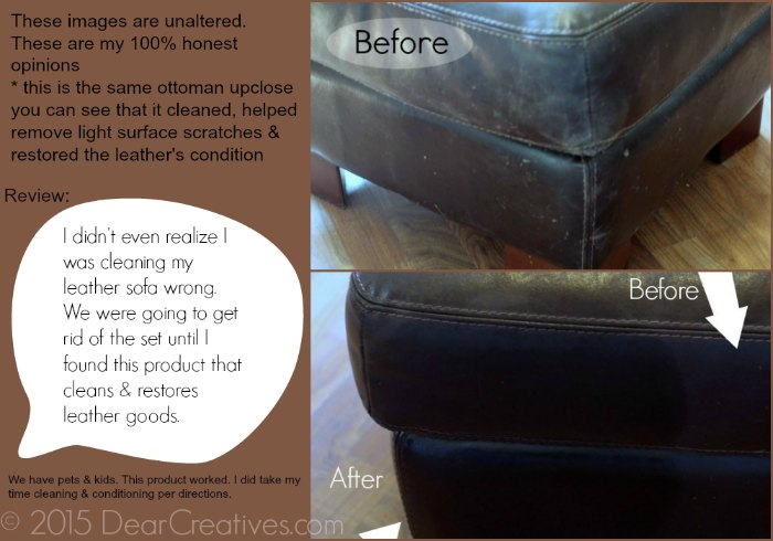Spring cleaning Tips Before - After of Leather Ottoman using Leather Nova Cleaning and Conditioning Products