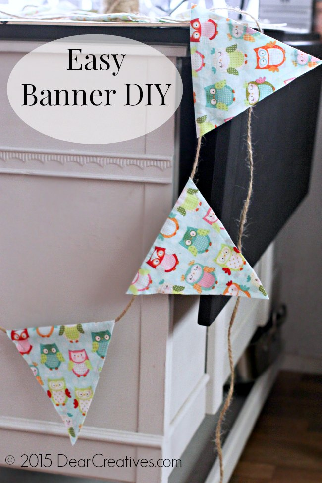 Easy Sewing Project |Banner hanging from a table