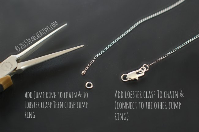 Easy Jewelry DIY Steps Chain Necklace| how to add a lobster clasp and jump rings