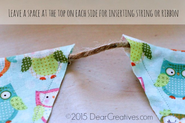 Easy Sewing Project |banner up close with string inserted through top of banner