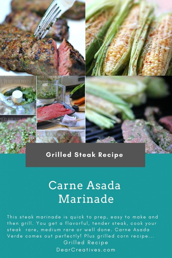Carne Asada Marinade - Are you looking for an easy steak marinade that is flavorful_ this is so easy to make an grill! Carne Asada Verde - Grilled Steak Recipe at DearCreatives.com