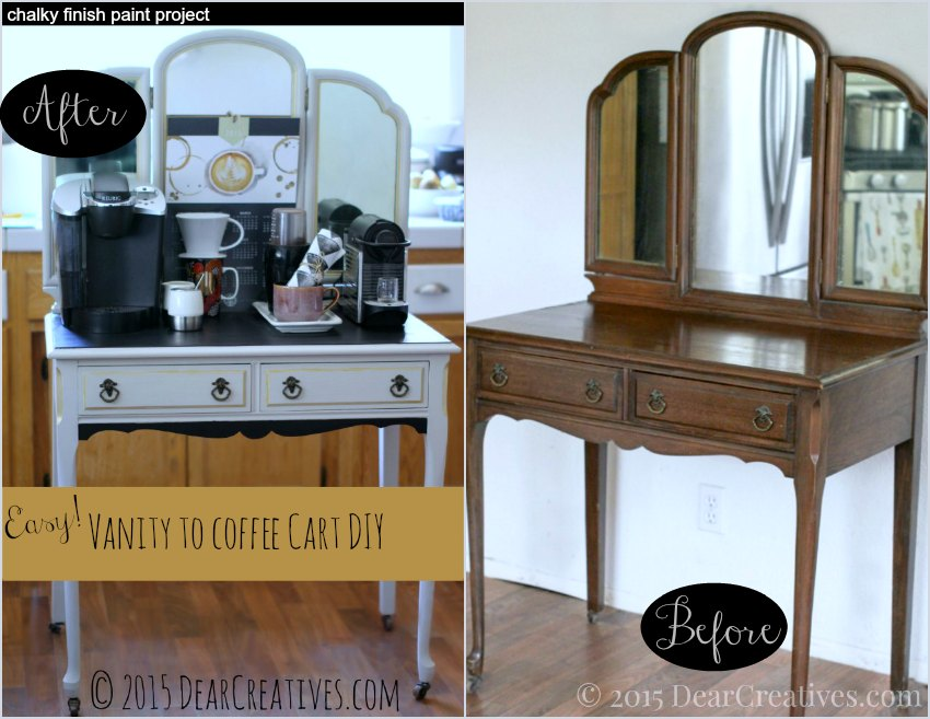 Home Decor Ideas | Before and After Vanity to Coffee Cart