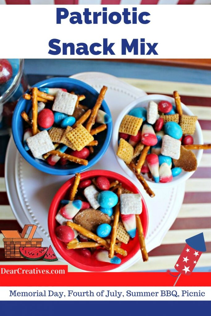 Patriotic Snack Mix - Easy to mix up, budget-friendly, snack treat perfect for the holidays, backyard BBQ or summer fun! DearCreatives.com