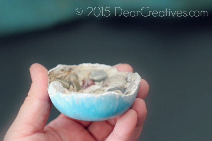 Concrete Trends |Small cement bowl painted with Patio Paints