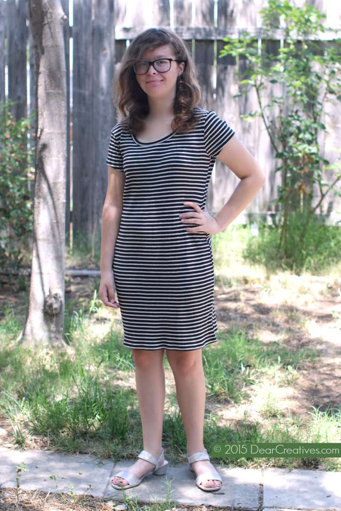 Fashions Juniors Women Striped Dress and Leather Shoes