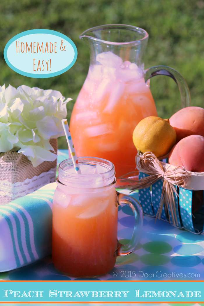 Easy Drink Recipes:|Homemade Peach Strawberry Lemonade