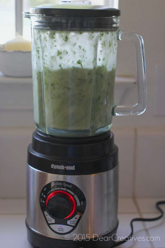 blending green enchilada sauce 2