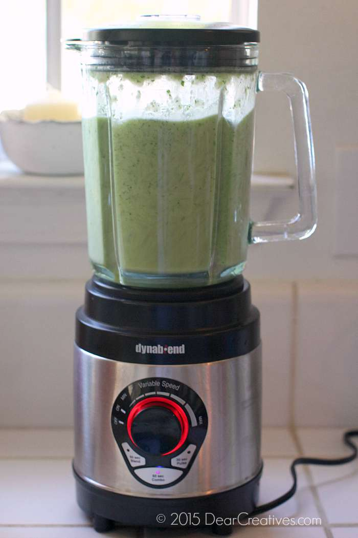 blending green enchilada sauce 4