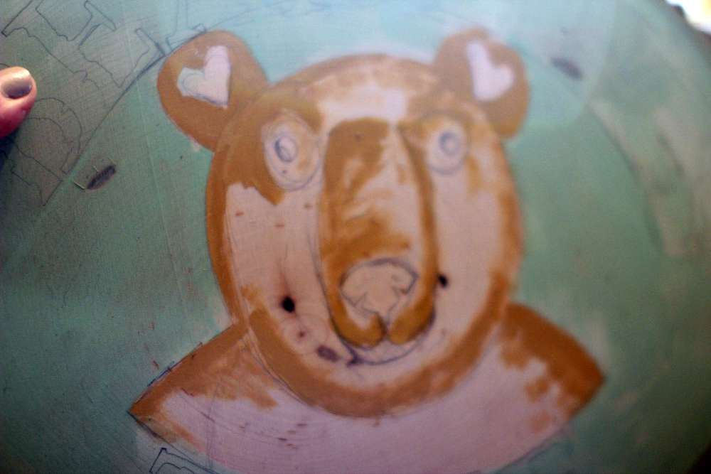 Block in Gold for light areas of bears fur. How to paint a bear face with acrylic paints. DearCreatiaves.com