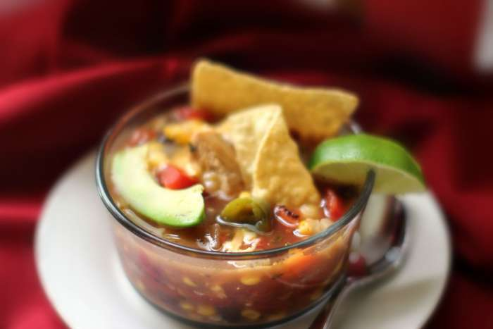 homemade soup | chicken tortilla soup with corn close up
