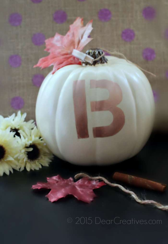 DIY Craft Project | Verticle Close up of B Stenciled on a pumpkin