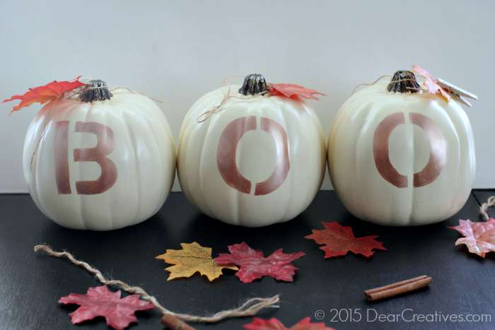 DIY Craft Projects |Pumpkins With BOO painted onto them - fall crafts