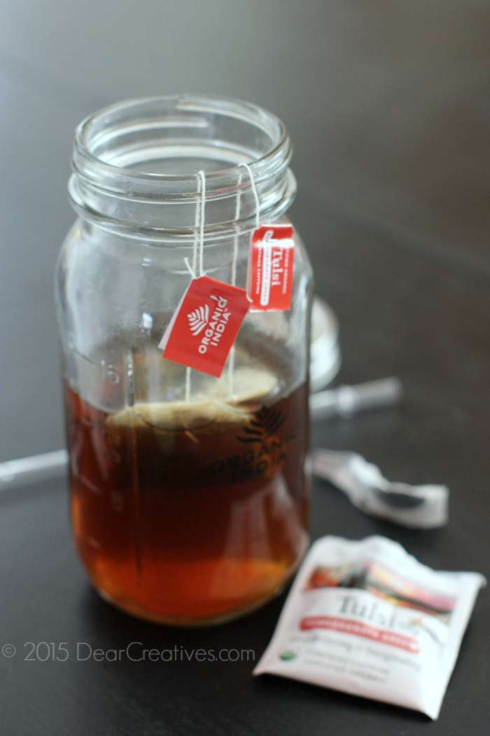 Tea bags steeping in a mason jar