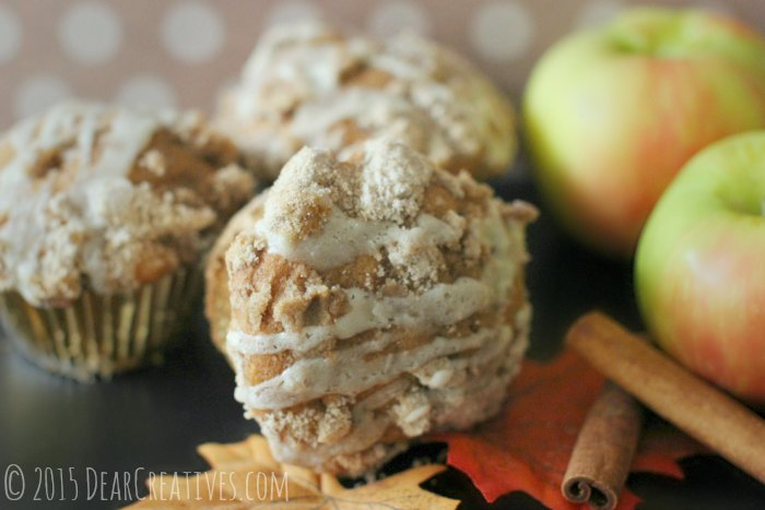Muffin recipe | Apple Cider Muffins and cinnamon sticks next to apples