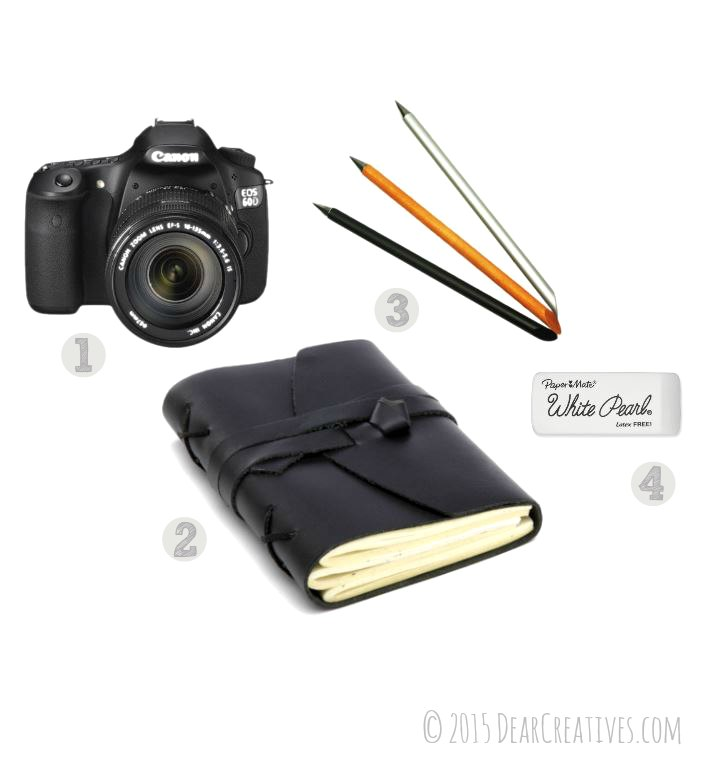 Canon Camera 60D Art Journal and Pens-2
