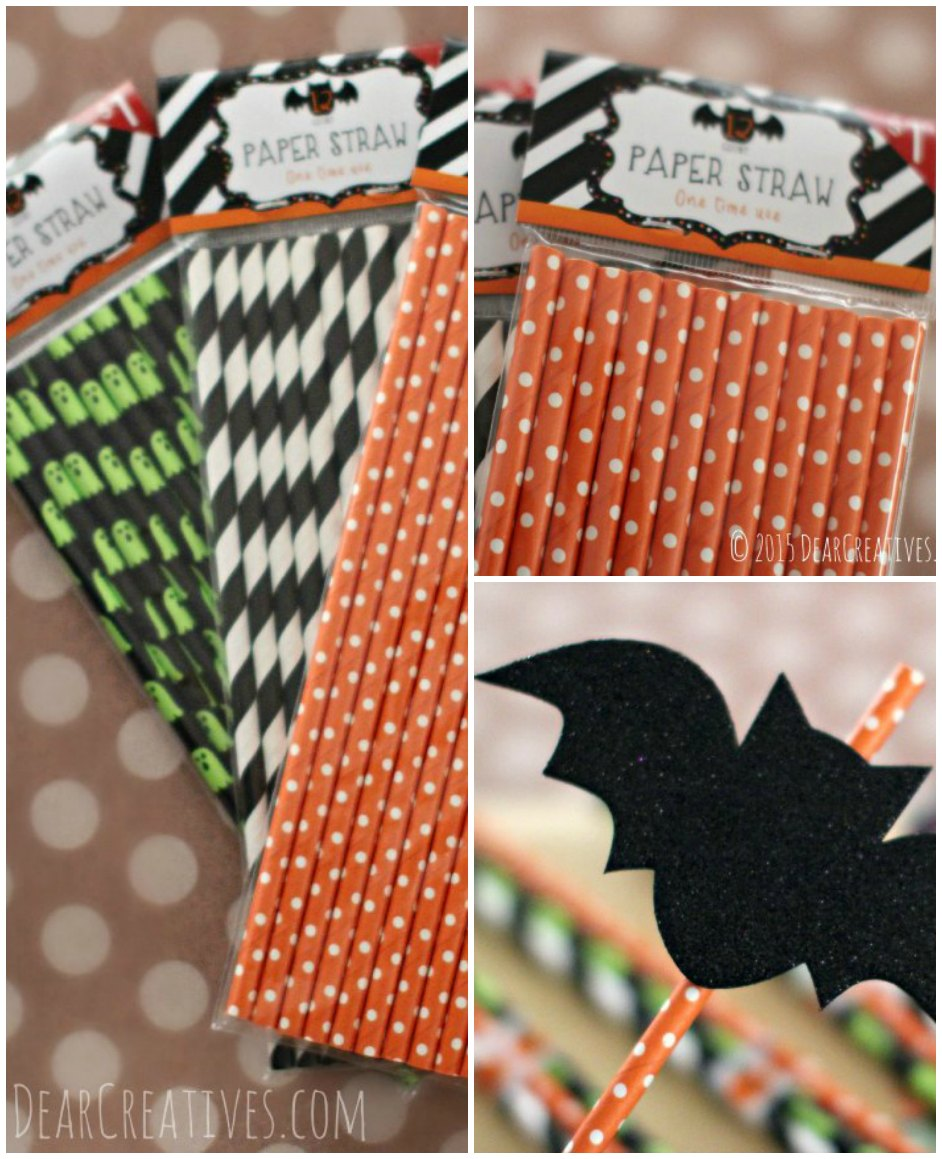 DIY Craft Projects Halloween Favors Paper Straws and glittered bat