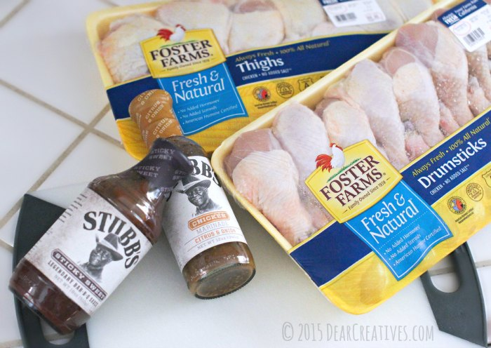 Foster Farms Chicken and Stubbs BBQ Sauce and marinate