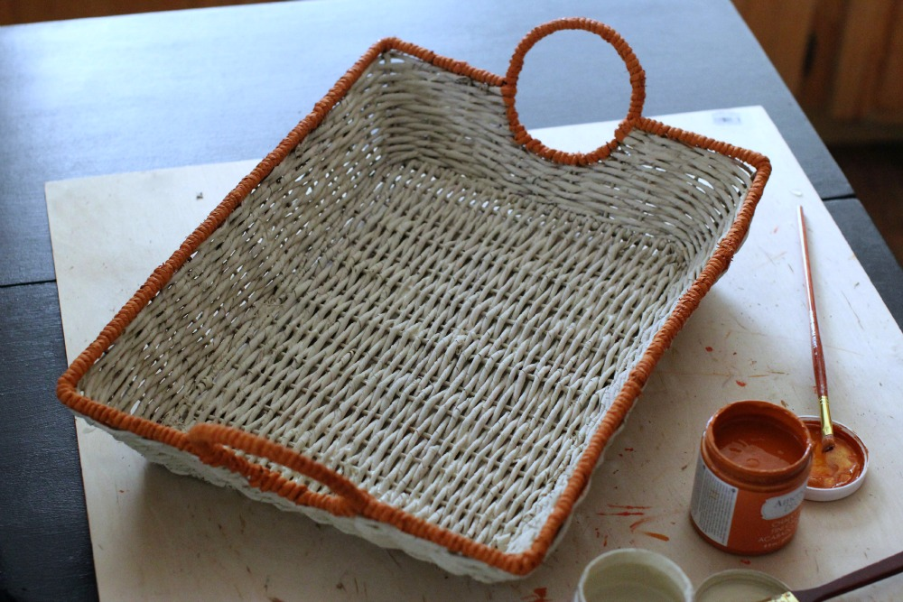 Painted Basket With Chalky Finish Paint