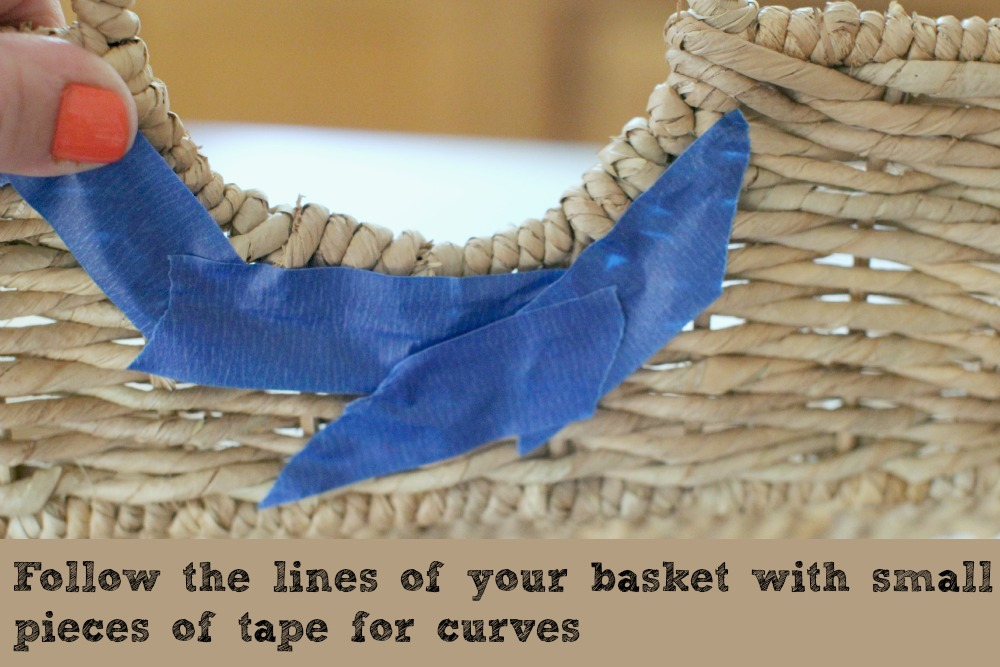 Putting Painters Tape Onto Basket