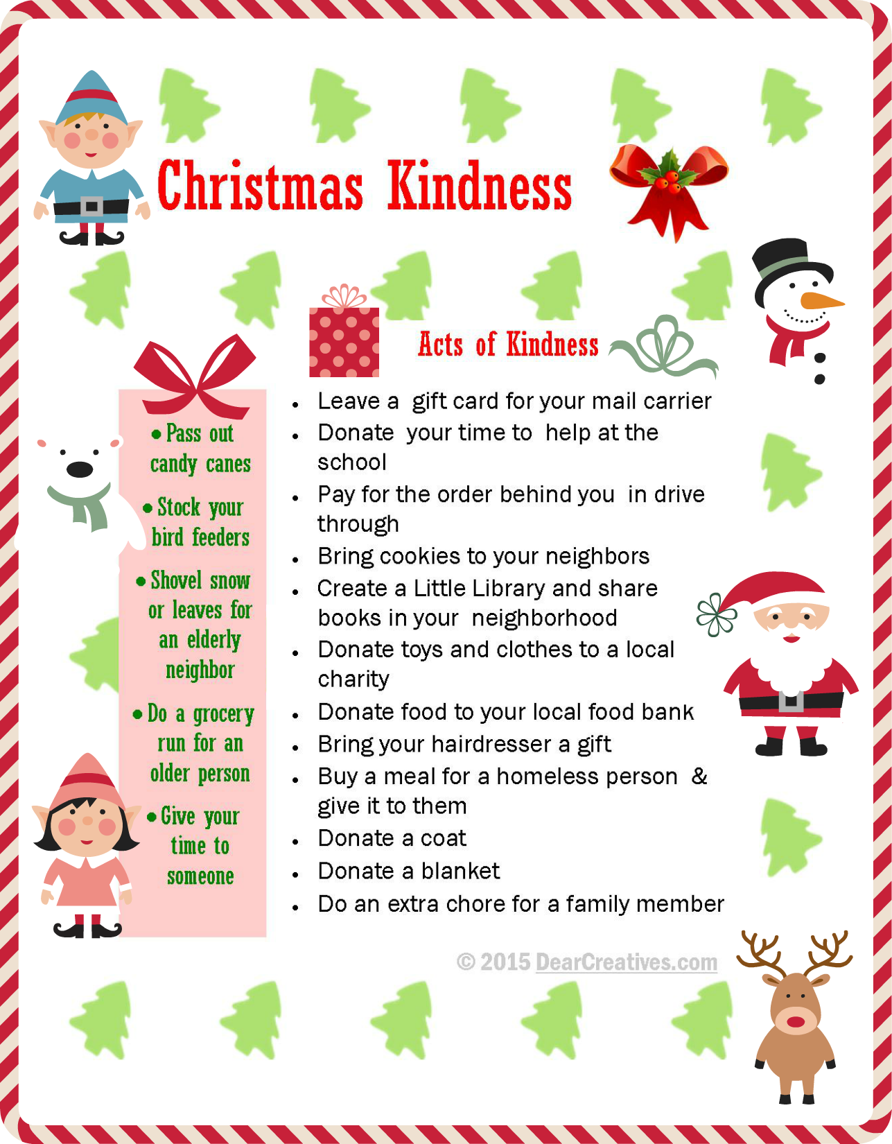 Christmas Kindness | Simple Acts of Kindness |Free Printable