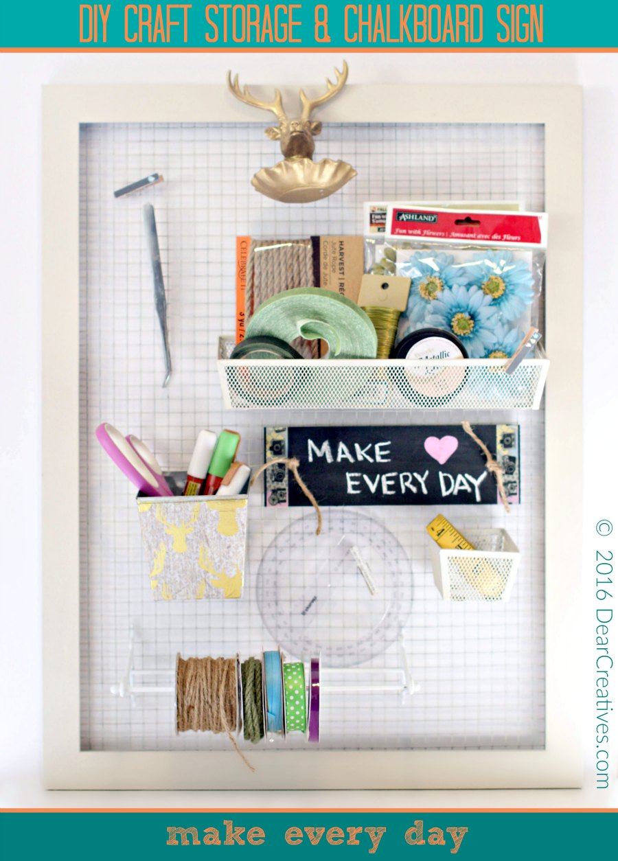 Craft Storage With Chalkboard Sign |Craft Storage DIY |