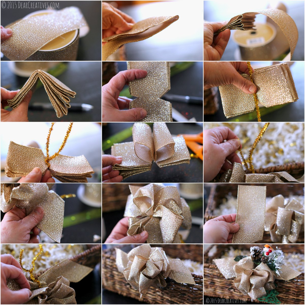 gift baskets diy| How to make a wired holiday bow with step by step images