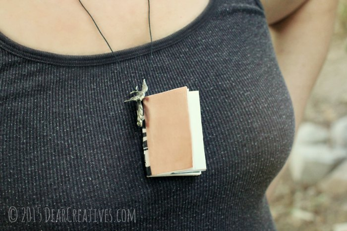 Crafts Mini Book Necklace on model