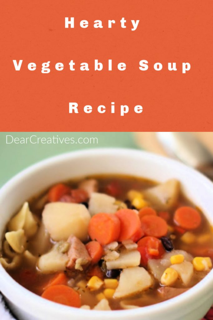 Are you ready to make a delicious vegetable soup_ You will want to make this easy homemade soup, it's a hearty vegetable soup that the entire family will enjoy. Grab the recipe at DearCreatives.com