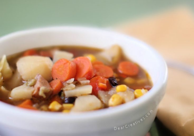 Vegetable Soup Recipe with or without meat. This is a flavorful soup that can be ready in 1 hour or less. DearCreatives.com