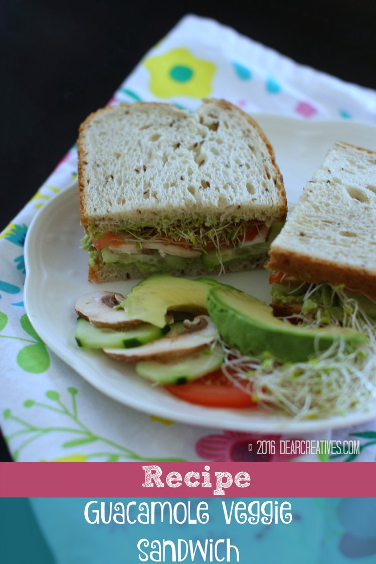 Avocado Sandwich – Guacamole Sandwich With Veggies