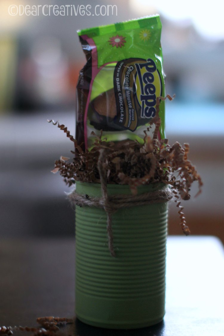 Gift Baskets Recycled can painted with crinkle paper and Peeps®