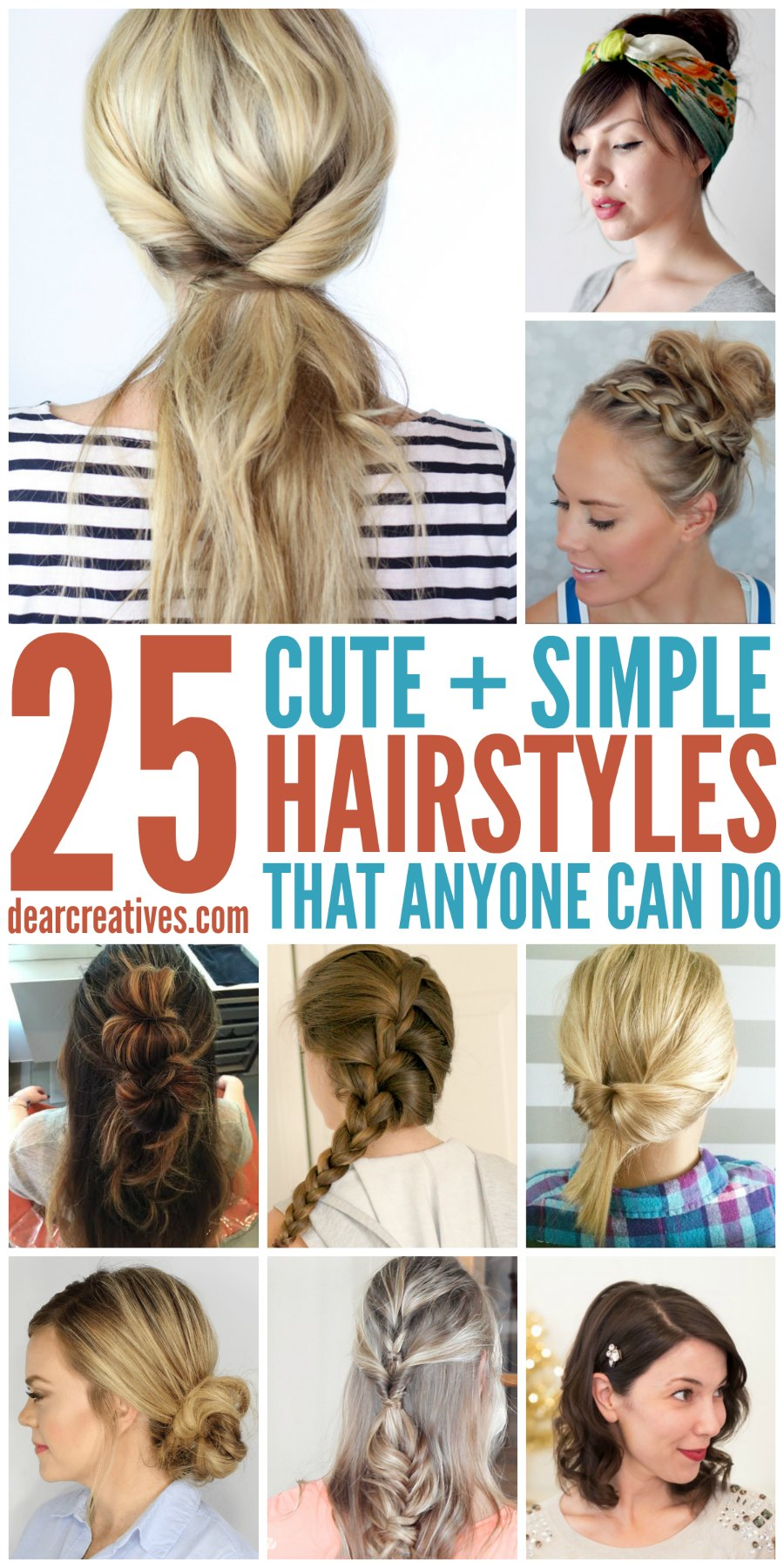 Hairstyles | Hairstyle Ideas | These are cute and easy hairstyles that anyone can do. These hairstyle ideas are for long hair. - DearCreatives.com
