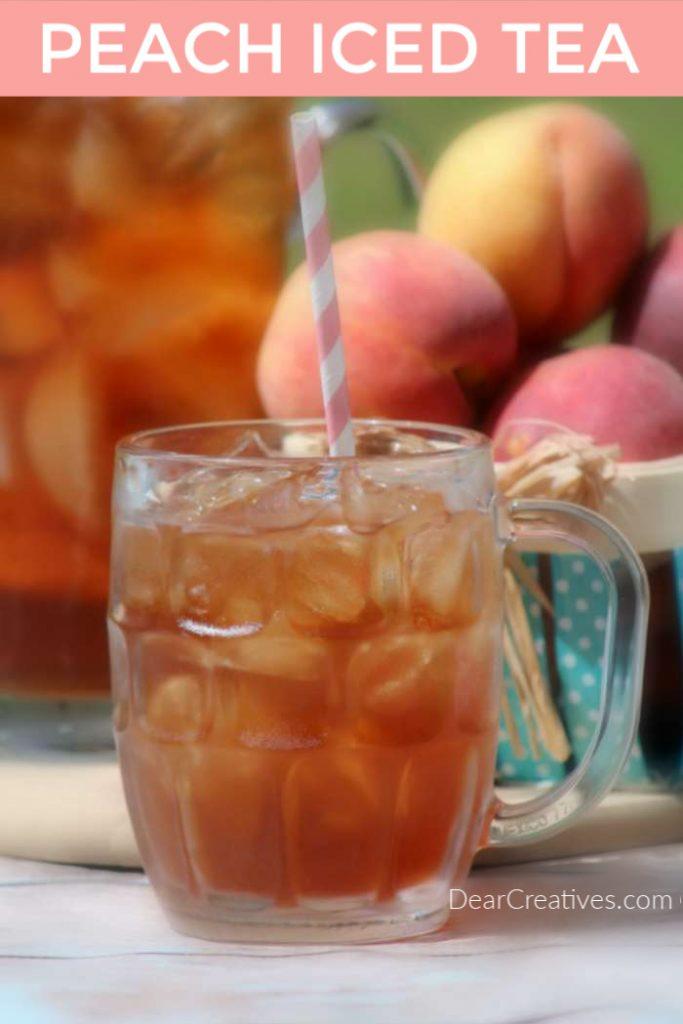 Are you ready to enjoy a glass of peach iced tea? Grab this easy to make peach iced tea recipe! Use it to drink now or for parties or special occasions. DearCreatives.com