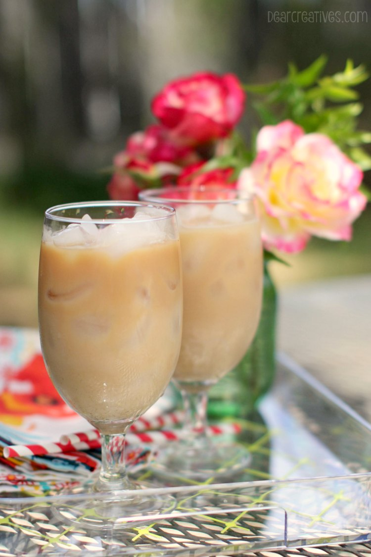 Drinks | Iced Chai Tea Lattes on a tray outdoors