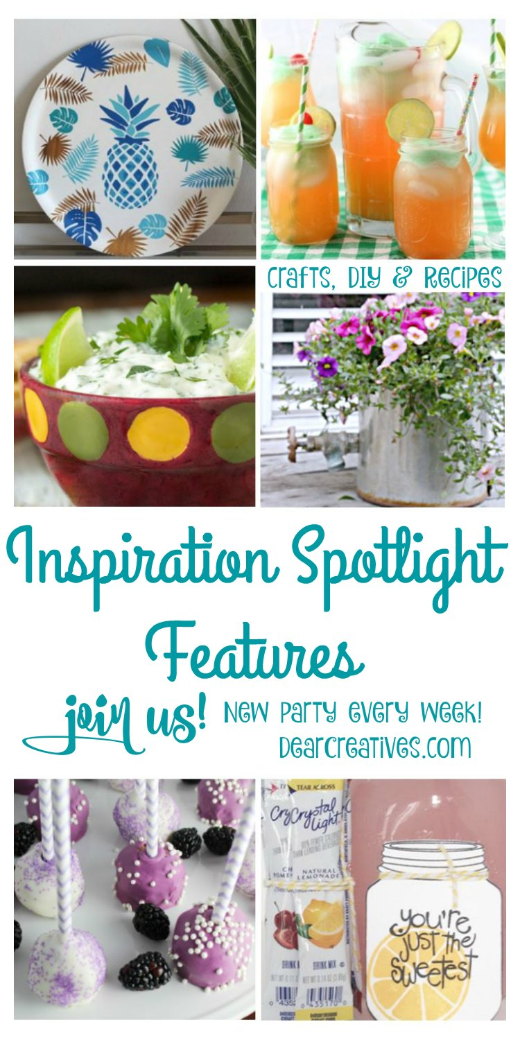 Linkup Party Inspiration Spotlight 195 DearCreatives.com A linky party where bloggers share their favorite crafts, DIY recipes, blogging tips, beauty, fashion and home decor