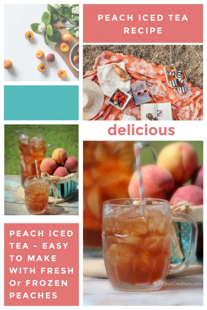 Peach Iced Tea - This iced tea with peaches is easy to make with fresh or frozen peaches. Drink Recipe at DearCreatives.com