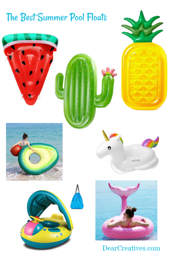 Pool floats for summer. Have fun on the water with any of these cool pool floats. See them all at DearCreatives.com #pool #summer #floats #fun #poolfloats #poolparty