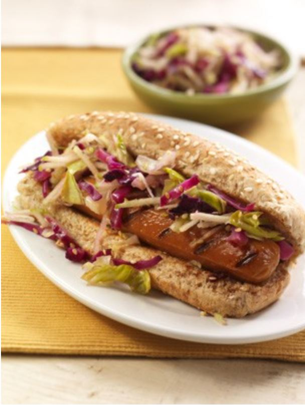 Smart Dog LiteLife Vegan hot dog with slaw
