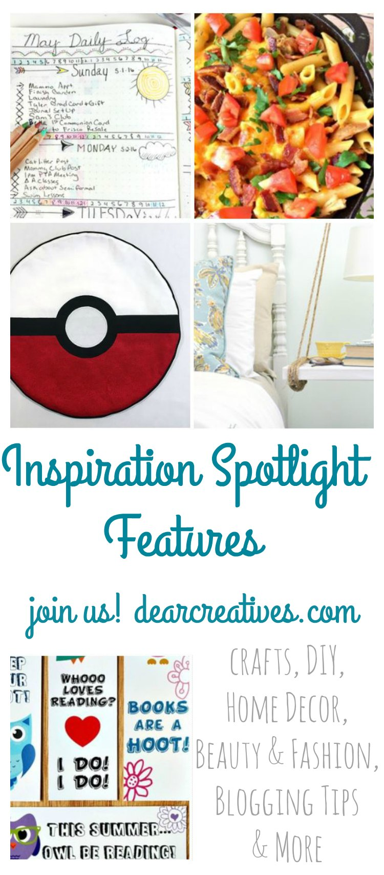 Linkup Party Inspiration Spotlight Bloggers sharing their favorite crafts, DIY, recipes and more DearCreatives.com