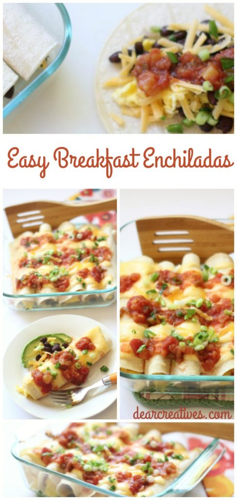 Sweet and Spicy Easy Make Ahead Enchilada Recipe. Perfect for breakfast, brunch or dinner. Made with Eggs, Black beans, Cheese, Avocado, Salsa, Green Onion